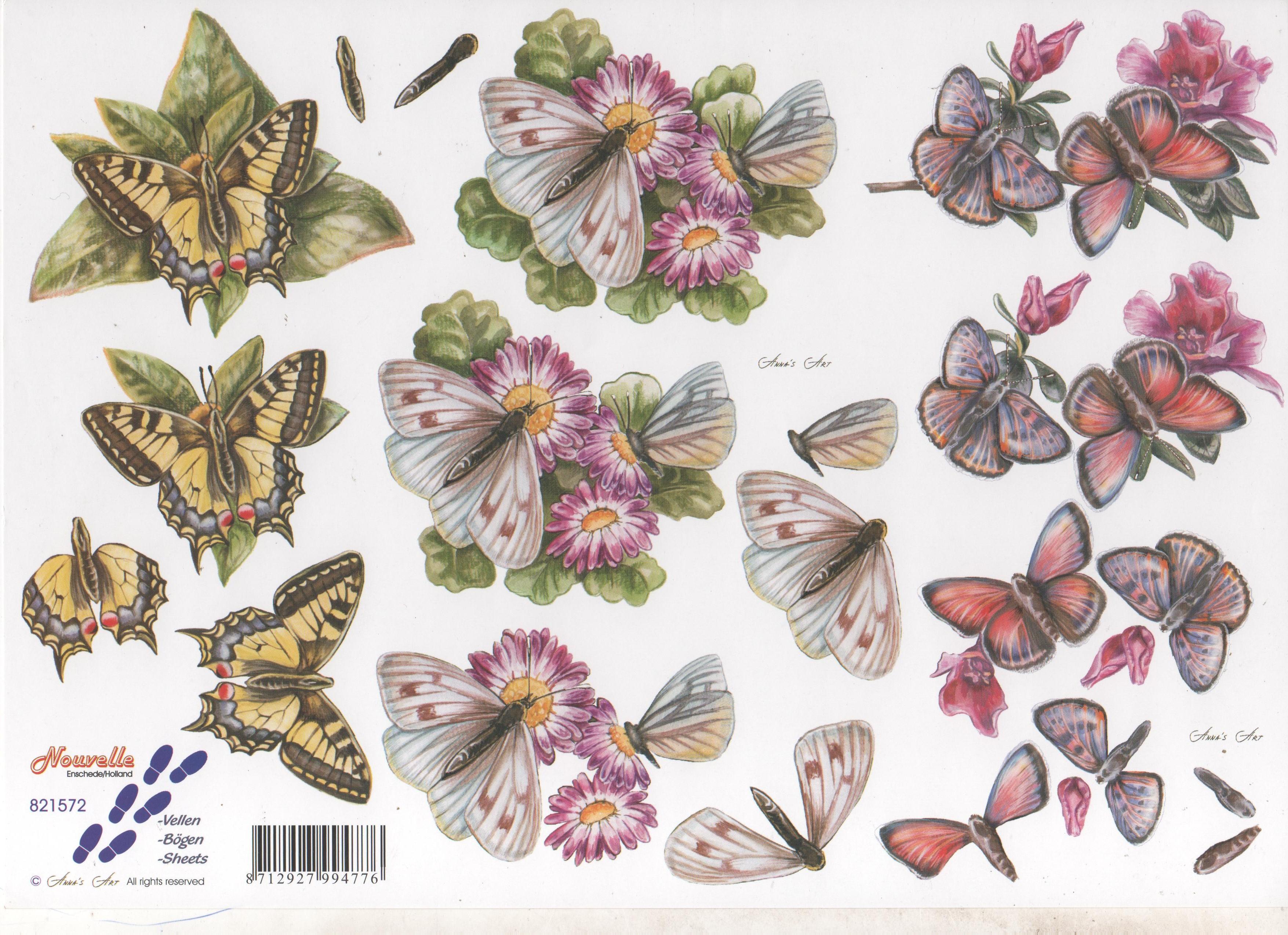 Le Suh 3d Decoupage Assorted Butterflies Virgo Crafts